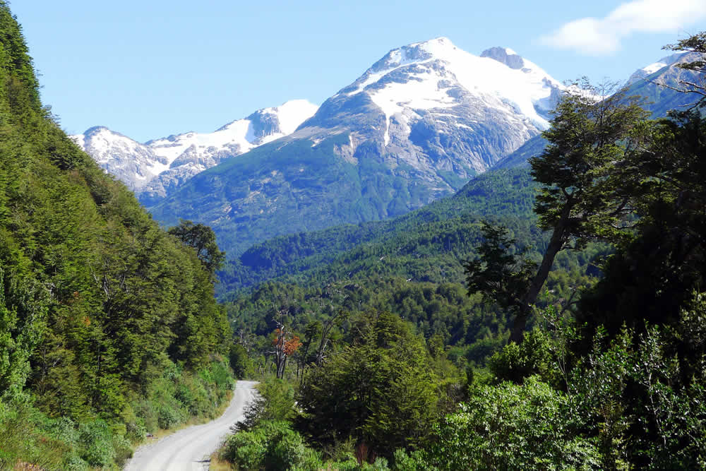 Pumalín Douglas Tompkins National Park with Carretera Austral with native forests and volvanos in Chile