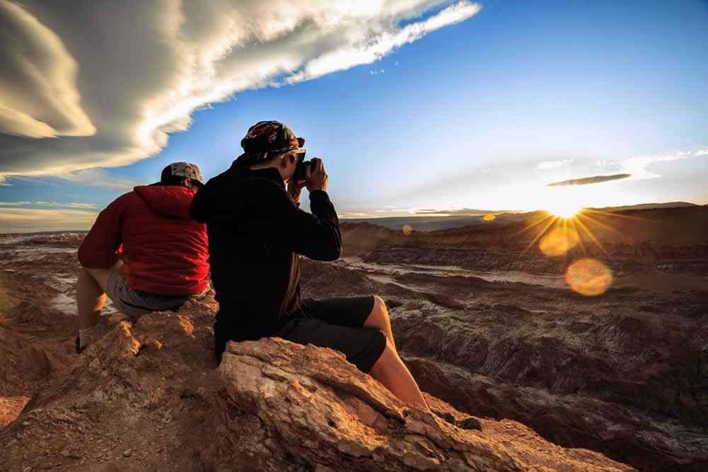 Sun goes down in the Chilean Atacama Desert in Valle de la Luna