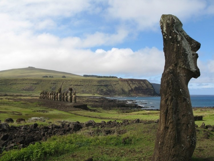 easter island view with moai