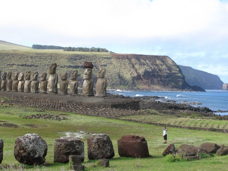 easter island view with stones and moai
