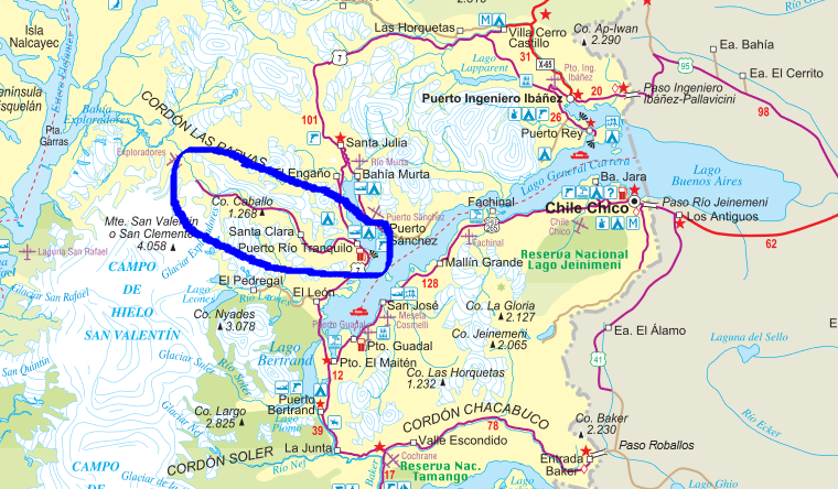 Carretera Austral on a map